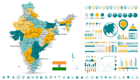 India Map and Infographics elements - Business template in flat style for presentation, booklet, website and other creative projects.