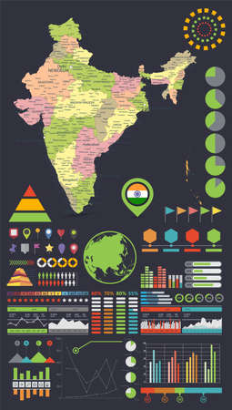 India map and Infographics design elements. On black - Business template in flat style for presentation, booklet, website and other creative projects.