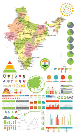 India map and Infographics design elements. On white - Business template in flat style for presentation, booklet, website and other creative projects.