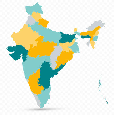 India Map on transparent background - Business template in flat style.