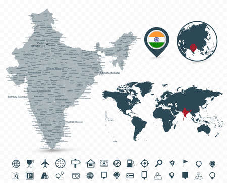 India Map and World Map isolated on transparent background - Highly detailed vector illustration of map.