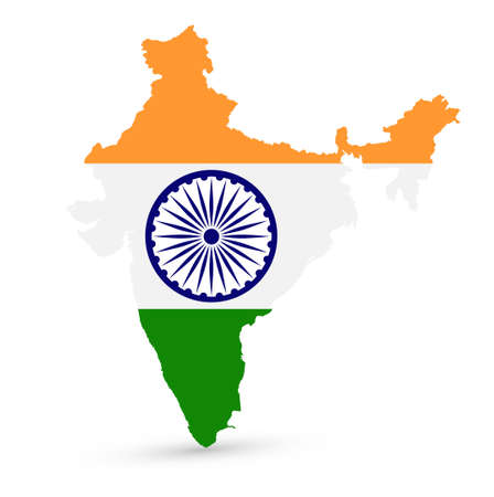 India map with the flag inside on white background. Vector illustration.