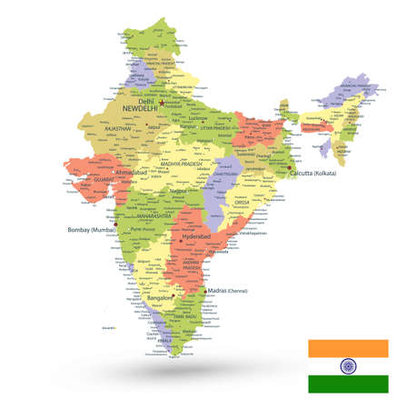 India Administrative Map Isolated on White. Vector illustration.