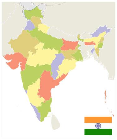 India Administrative Map. No text. Vector illustration. Иллюстрация