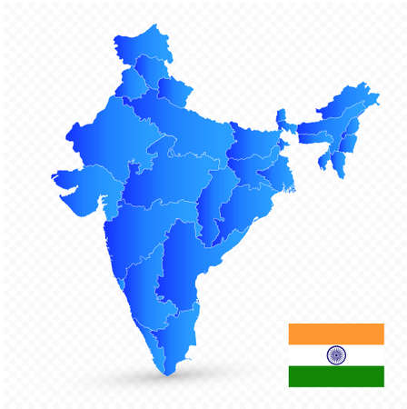India map and flag on transparent background. No text. Image contains layers with map contours. Highly detailed vector illustration. Фото со стока - 164163775