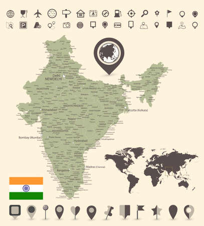 India Map and and World Map with navigation icons - Detailed map of India vector illustration - All elements are separated in editable layers clearly labeled. Фото со стока - 164163719