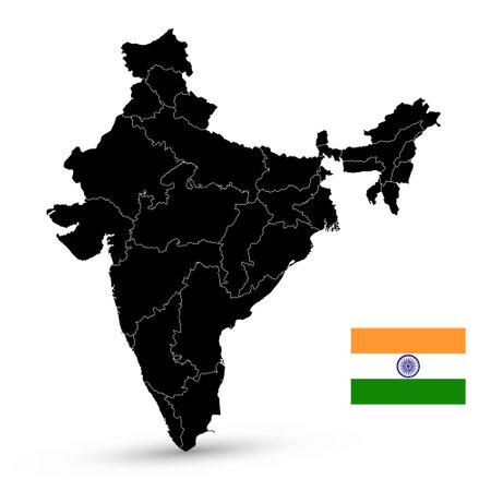 India Black Outline Map. Vector illustration.