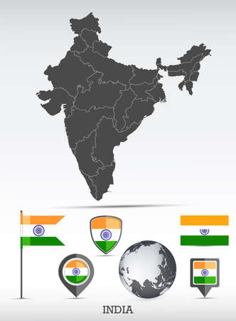 India map and flag set. Detailed country shape with region borders and flag icons.