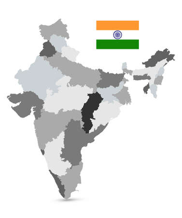 Administrative Divisions Map of India - Highly detailed vector illustration of map.