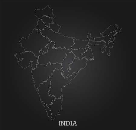 Abstract line map of India on dark background. Vector illustration. Иллюстрация