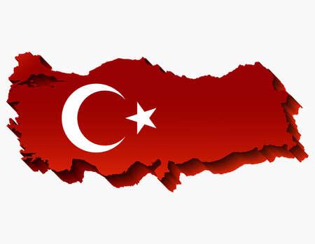Abstract Turkey Map with national flag. Turkey Map. Vector Illustration. Иллюстрация