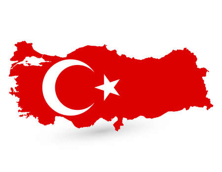 Map Of Turkey With Flag Inside. Turkey Map. Vector Illustration.