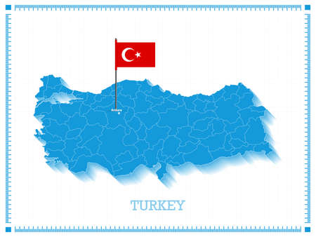3D Turkey Map and Turkish Flag pin icon.