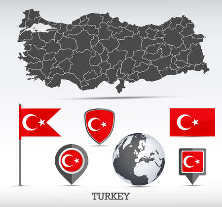 Turkey vector set. Detailed country shape with region borders, flags and icons. Иллюстрация