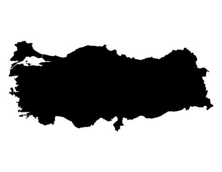 Black color Turkey map isolated on white. Иллюстрация