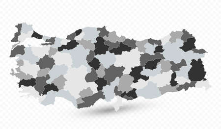 Administrative Divisions Map of Turkey - Highly detailed vector illustration of map. Фото со стока - 164164366