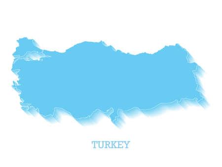 3D Turkey Map Isolated on white. Vector illustration.