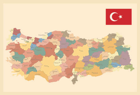 Turkey Map Old Colors - Image contains layers with map contours, city names - Highly detailed vector illustration. Иллюстрация