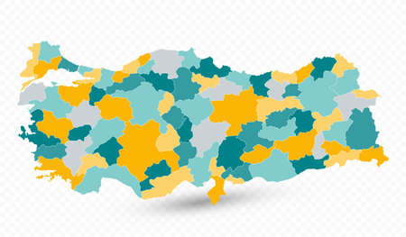 Turkey Map on transparent background - Business template in flat style for presentation, booklet, website and other creative projects.