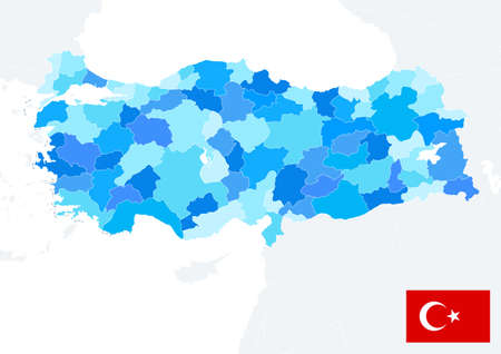 Turkey map blue colors and flag. No text. Image contains layers with map contours. Highly detailed vector illustration. 矢量图像
