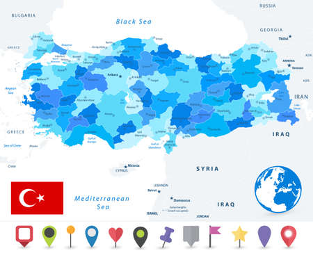 Turkey map and flag. Image contains layers with map contours, land names, city names map icons - Highly detailed vector illustration.