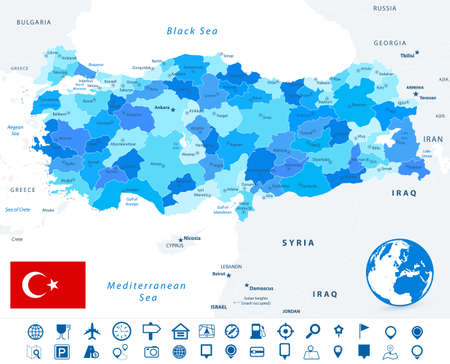 Turkey map blue colors and and navigation icons. Image contains layers with map contours, land names, city names map icons - Highly detailed vector illustration. Иллюстрация