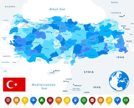 Turkey map blue colors and colored map icons. Image contains layers with map contours, land names, city names map icons - Highly detailed vector illustration. 矢量图像