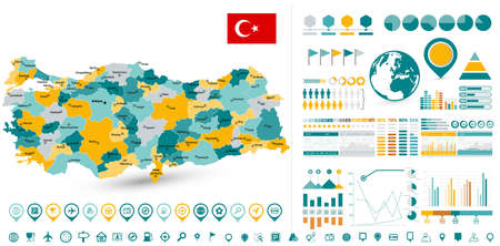 Turkey Map and Infographics design elements - Business template in flat style for presentation, booklet, website and other creative projects. Иллюстрация