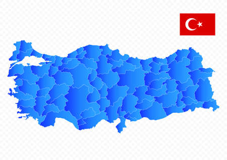 Turkey map and flag. No text. Image contains layers with map contours. Highly detailed vector illustration.