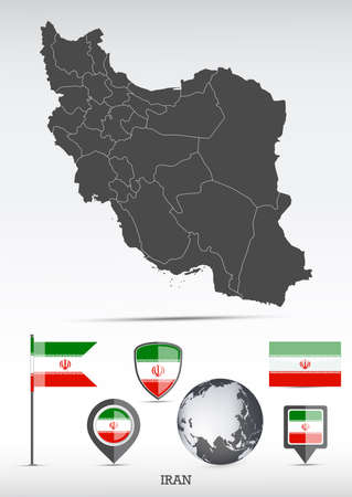 Iran map and flag set. Detailed country shape with region borders and flag icons.