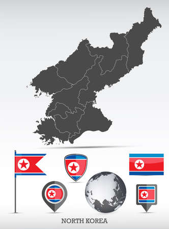 North Korea map and flag set. Detailed country shape with region borders and flag icons.