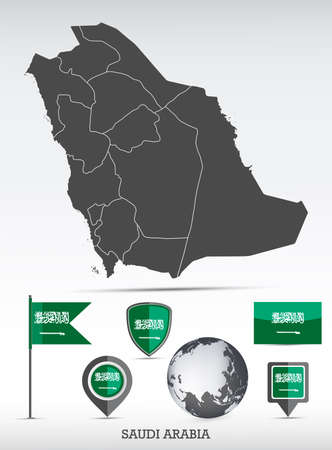 Saudi Arabia map and flag set. Detailed country shape with region borders and flag icons. Иллюстрация