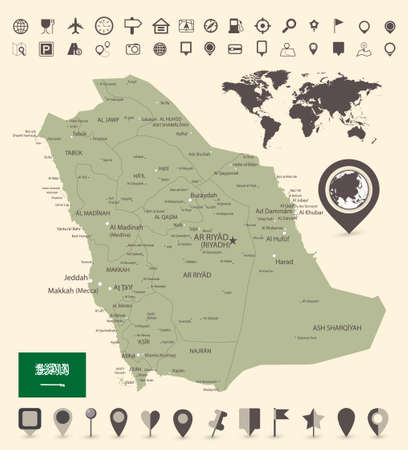 Saudi Arabia Map and and World Map with navigation icons - Detailed map of Saudi Arabia vector illustration - All elements are separated in editable layers clearly labeled.
