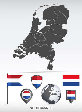 Netherlands map and flag set. Detailed country shape with region borders and flag icons.