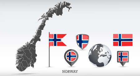 Norway map and flag set. Detailed country shape with region borders and flag icons.