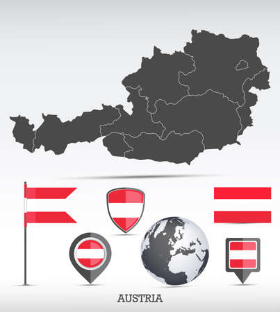Austria map and flag set. Detailed country shape with region borders and flag icons. Иллюстрация