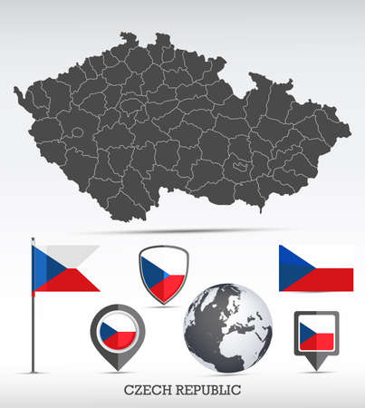 Czech Republic map and flag set. Detailed country shape with region borders and flag icons.
