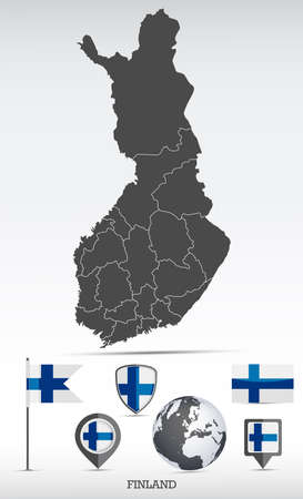 Finland map and flag set. Detailed country shape with region borders and flag icons.