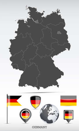 Germany map and flag set. Detailed country shape with region borders and flag icons. Иллюстрация