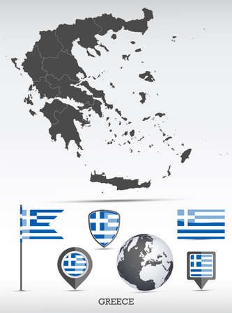 Greece map and flag set. Detailed country shape with region borders and flag icons. Иллюстрация