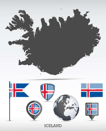 Iceland map and flag set. Detailed country shape with region borders and flag icons.