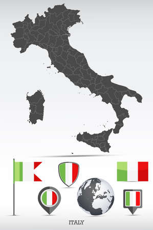 Italy map and flag set. Detailed country shape with region borders and flag icons.