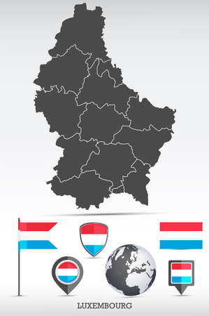 Luxembourg map and flag set. Detailed country shape with region borders and flag icons. Иллюстрация