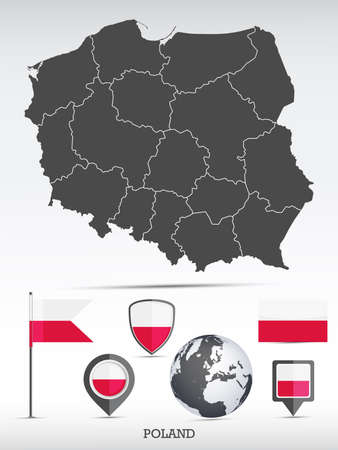 Poland map and flag set. Detailed country shape with region borders and flag icons.