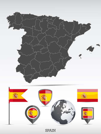Spain map and flag set. Detailed country shape with region borders and flag icons. Иллюстрация