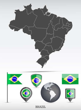 Brazil map and flag set. Detailed country shape with region borders and flag icons.