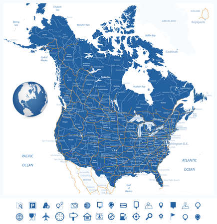 USA and Canada road map and navigation icons with states, provinces and capital cities in USA and Canada.