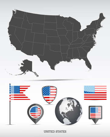 USA map and flag set. Detailed country shape with region borders and flag icons. Иллюстрация