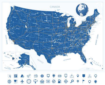 Highly Detailed Map of United States. With cities, roads, lakes, rivers, states, Alaska and Hawaii.