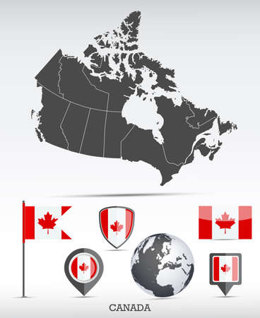 Canada map and flag set. Detailed country shape with region borders and flag icons. Фото со стока - 166222185